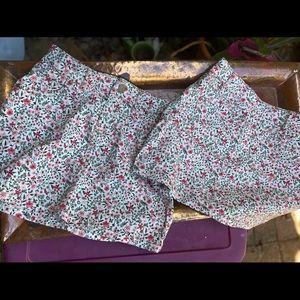 Twin big girls floral denim skirts